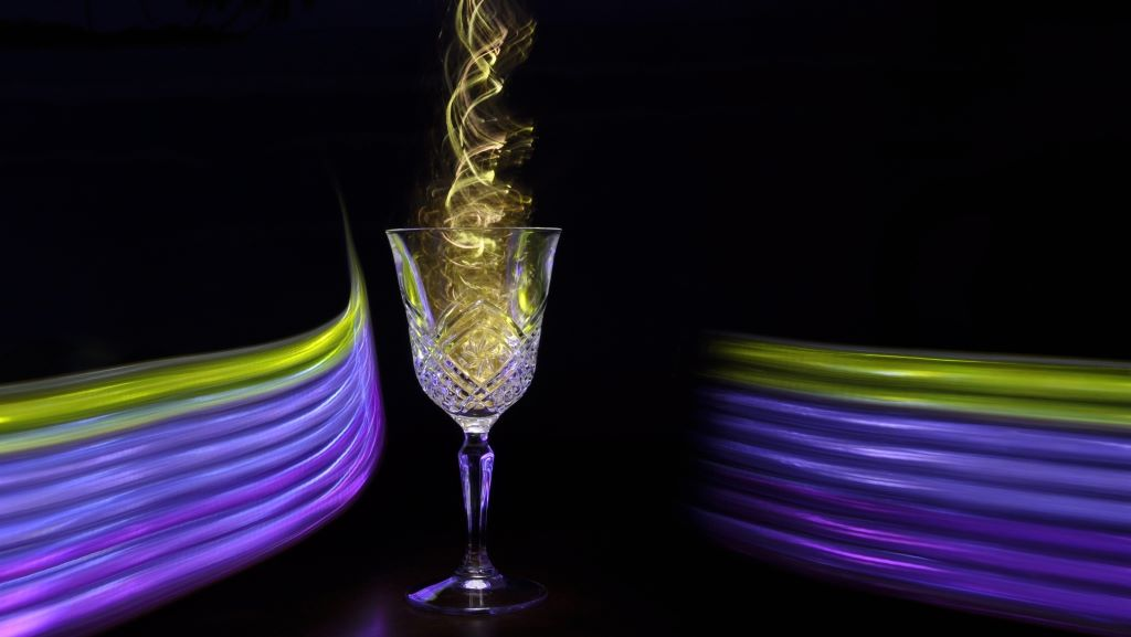 wine glass-with light effects