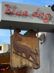 Blue Dog Beer Tavern Entrance Sign