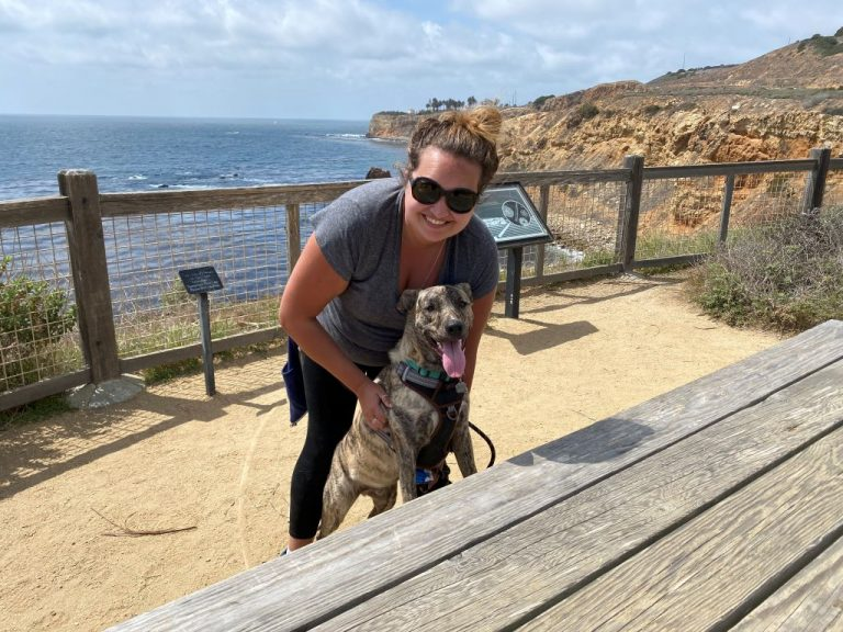 Dog Owner with Puppy at Point Vicente Beach Walk Trail