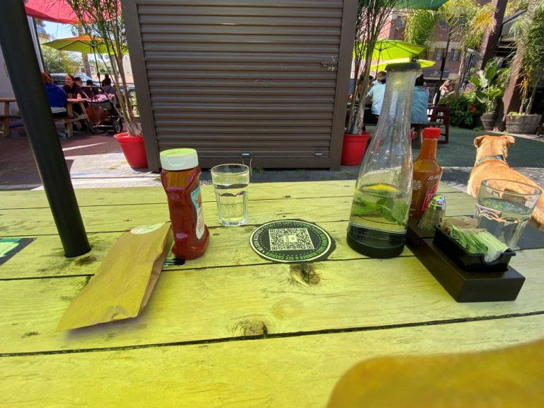Sitting at Blu Jam Cafe