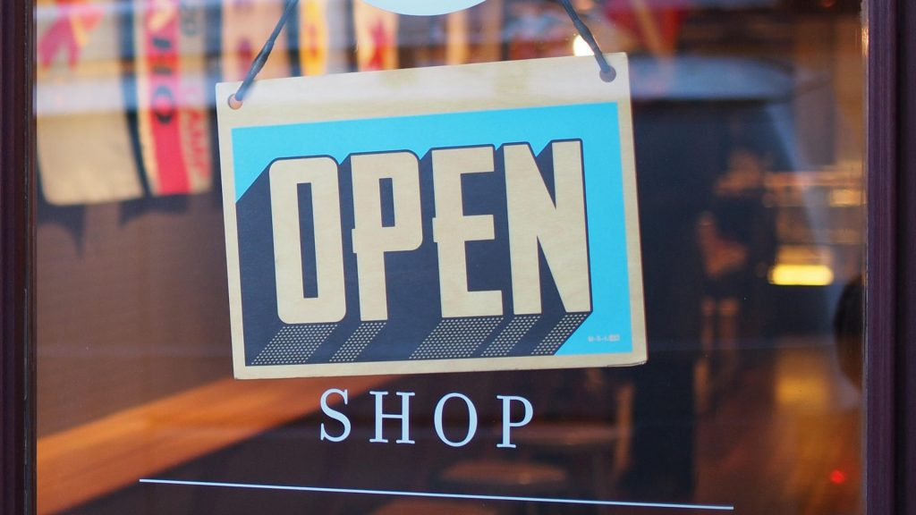 Store Open Sign on Retail Shop