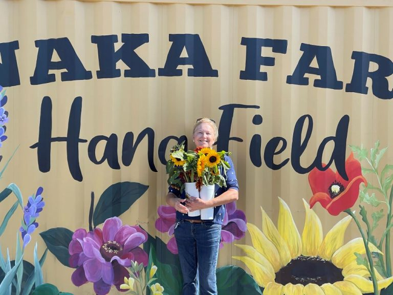 Wende with Sunflowers at Hana Field