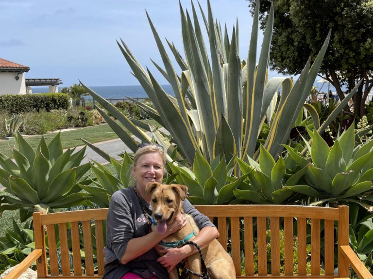 WendeSchoof with Puppy Goose at Point Vicente Beach Walk Trail
