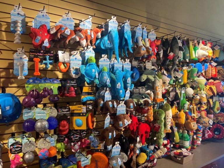 Three Dog Bakery Wall of toys
