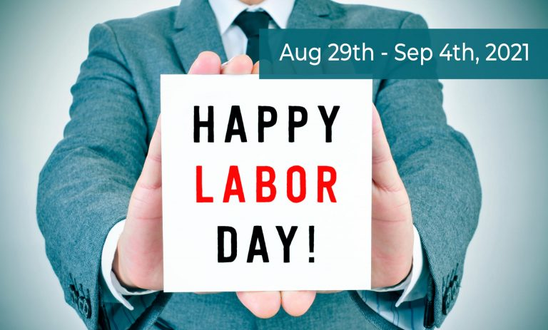 Business Man Holding Happy Labor Day Sign