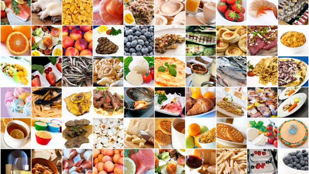Different foods collage
