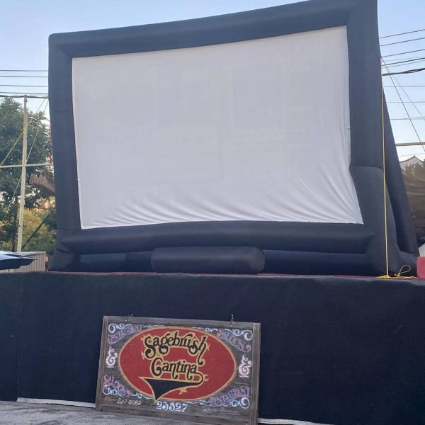 Sagebrush Cantina Drive-In Movie Setup
